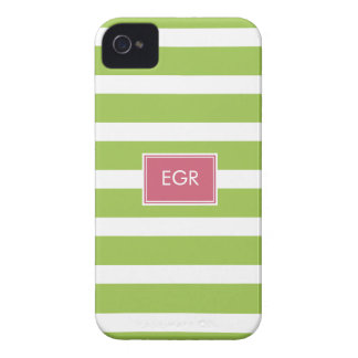 Monogram Stripes iPhone Cases (Green/Pink) iPhone 4 Case