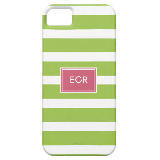Monogram Stripes iPhone Cases (Green/Pink) iPhone 5 Case