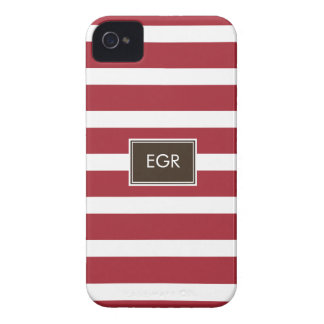 Monogram Stripes iPhone Cases (Red/Brown) Case-Mate iPhone 4 Cases