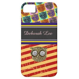 monogram, stripes & owls iPhone SE/5/5s case