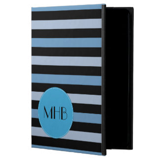 Monogram - Stripes, Parallel Lines - Blue Black Powis iPad Air 2 Case