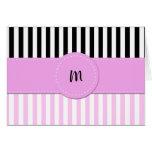 Monogram - Stripes (Parallel Lines) - Pink Black Cards