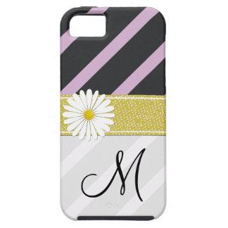 Monogram - Stripes, Parallel Lines - Purple Black iPhone SE/5/5s Case