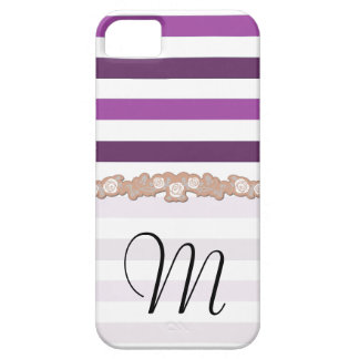 Monogram - Stripes, Parallel Lines - White Purple iPhone SE/5/5s Case
