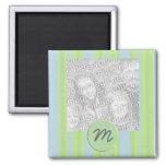 monogram stripes photo frame 2 inch square magnet