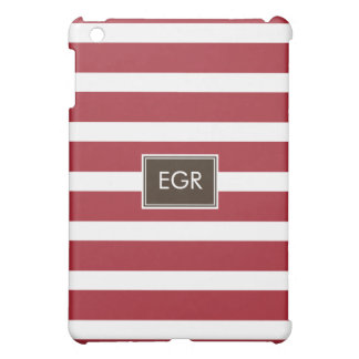 Monogram Stripes (Red/Brown) Cover For The iPad Mini