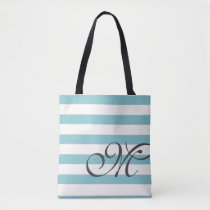 Monogram & Stripes Tote Bag