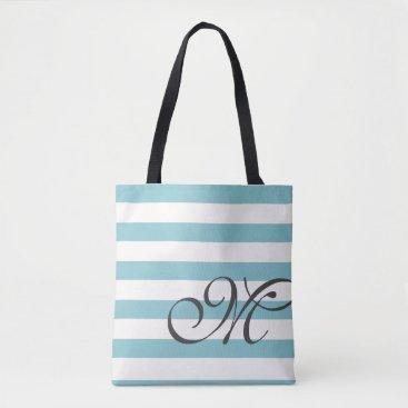 Beach Themed Monogram & Stripes Tote Bag