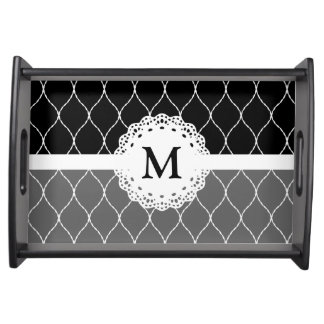 Monogram - Stylish Black White Lace Pattern Food Tray