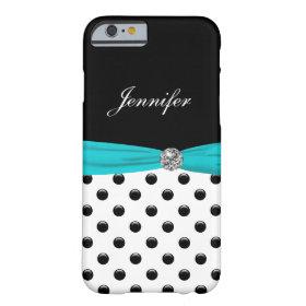 Monogram Stylish Polka Dot Turquoise Barely There iPhone 6 Case