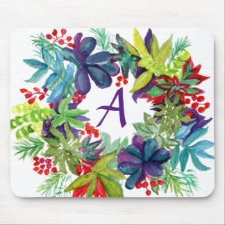 Monogram Succulent Wreath Mousepad