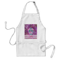 Monogram Sugar Skull Pink Teal Blue Floral Pattern Adult Apron