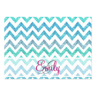Monogram Summer Sea Teal Turquoise Glitter Chevron Large Business Cards (Pack Of 100)