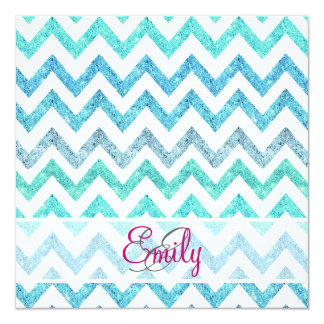 Monogram Summer Sea Teal Turquoise Glitter Chevron Card