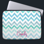 """Monogram Summer Sea Teal Turquoise Glitter Chevron Computer Sleeve<br><div class=""""desc"""">Monogram Summer Sea Teal Turquoise Glitter Chevron A girly, bright glitter monogrammed chevron zigzag pattern featuring teal, turquoise, aqua glitter ombre gradients summer and sea colors with striped chevron pattern. The perfect gift for her, the girly girl who loves modern and chic pattern. Note that none of the elements are...</div>"""