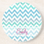 """Monogram Summer Sea Teal Turquoise Glitter Chevron Drink Coaster<br><div class=""""desc"""">Monogram Summer Sea Teal Turquoise Glitter Chevron A girly, bright glitter monogrammed chevron zigzag pattern featuring teal, turquoise, aqua glitter ombre gradients summer and sea colors with striped chevron pattern. The perfect gift for her, the girly girl who loves modern and chic pattern. Note that none of the elements are...</div>"""
