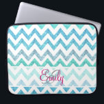 """Monogram Summer Sea Teal Turquoise Glitter Chevron Laptop Sleeve<br><div class=""""desc"""">Monogram Summer Sea Teal Turquoise Glitter Chevron A girly, bright glitter monogrammed chevron zigzag pattern featuring teal, turquoise, aqua glitter ombre gradients summer and sea colors with striped chevron pattern. The perfect gift for her, the girly girl who loves modern and chic pattern. Note that none of the elements are...</div>"""