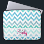 "Monogram Summer Sea Teal Turquoise Glitter Chevron Laptop Sleeve<br><div class=""desc"">Monogram Summer Sea Teal Turquoise Glitter Chevron A girly, bright glitter monogrammed chevron zigzag pattern featuring teal, turquoise, aqua glitter ombre gradients summer and sea colors with striped chevron pattern. The perfect gift for her, the girly girl who loves modern and chic pattern. Note that none of the elements are...</div>"