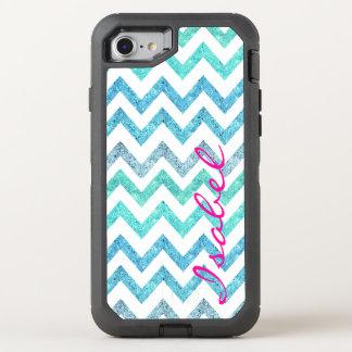 Monogram summer sea teal turquoise glitter chevron OtterBox defender iPhone 7 case