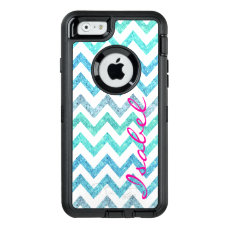 Monogram summer sea teal turquoise glitter chevron OtterBox defender iPhone case
