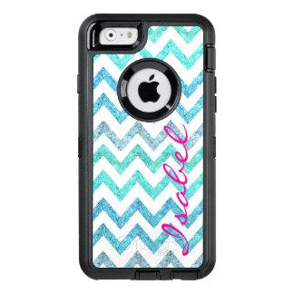 Monogram summer sea teal turquoise glitter chevron OtterBox defender iPhone case