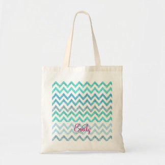 Monogram Summer Sea Teal Turquoise Glitter Chevron Tote Bag