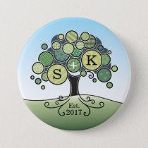 Monogram Summer Wedding Patchwork Pattern Tree Button