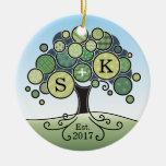 Monogram Summer Wedding Patchwork Pattern Tree Ceramic Ornament