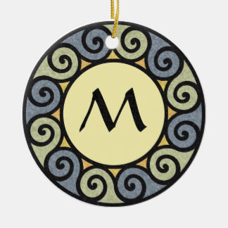Monogram Sun Stone Marble Green Blue Spiral Yellow Ceramic Ornament