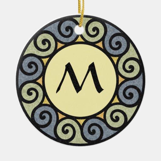 Monogram Sun Stone Marble Green Blue Spiral Yellow Christmas Ornament