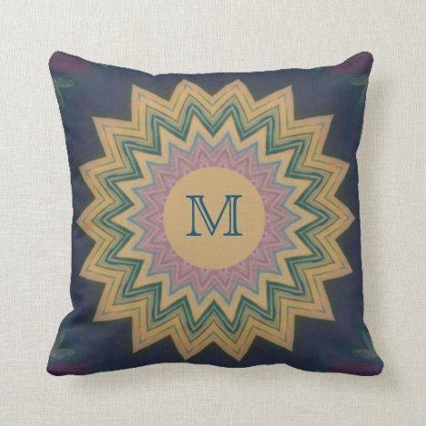 Monogram Sunburst Throw Pillow