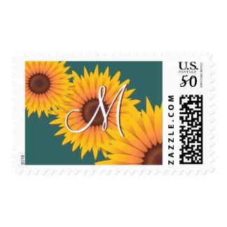 Monogram Sunflower Postage