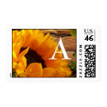 Monogram Sunflower Stamps, Fall Country Floral