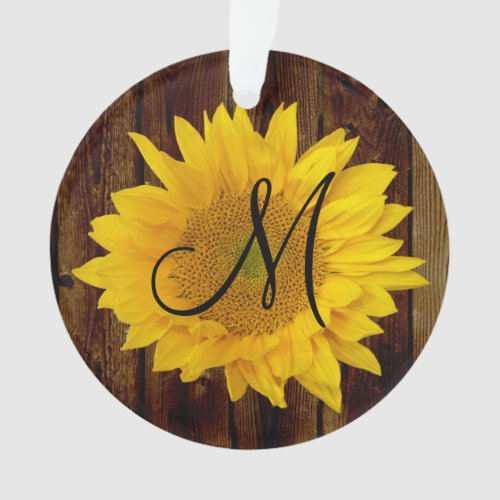 Monogram Sunflower Vintage Country Flower Ornament