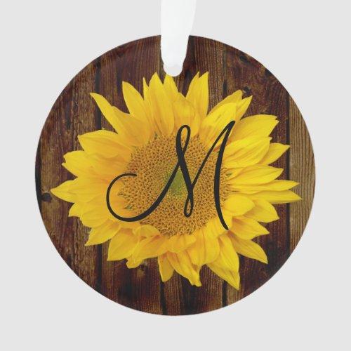 Monogram Sunflower Vintage Country Flower Ornament