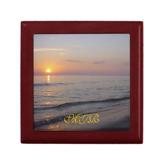 Monogram Sunset Beach Waves, Serene and Peaceful Keepsake Box