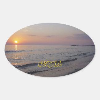Monogram Sunset Beach Waves, Serene and Peaceful Oval Sticker