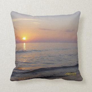 Monogram Sunset Beach Waves, Serene and Peaceful Throw Pillow
