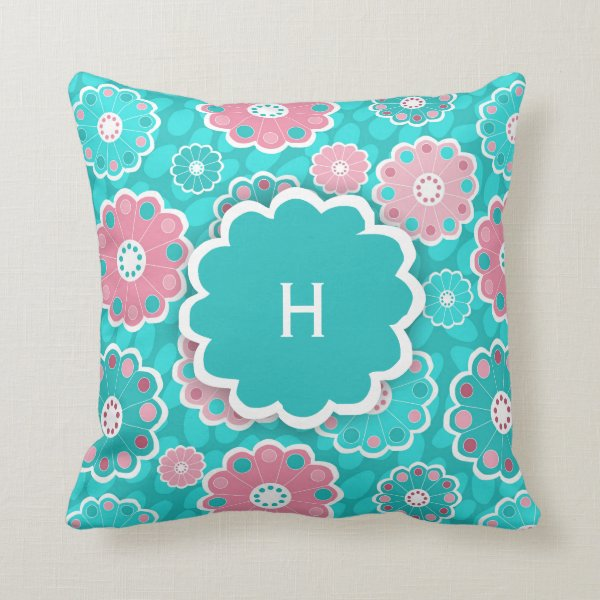 Monogram super cool girls aqua and pink floral throw pillow
