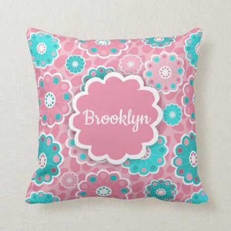 Monogram super cool girls pink and aqua floral throw pillow