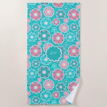 Beach Themed Monogram super trendy aqua and pink floral beach towel
