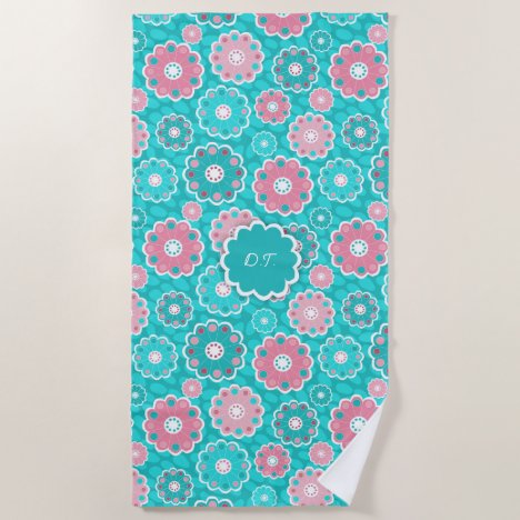 Monogram super trendy aqua and pink floral beach towel