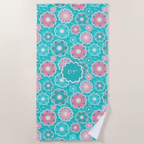 Monogram super trendy aqua and pink floral beach towel