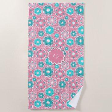 Beach Themed Monogram super trendy pink  & aqua floral beach towel