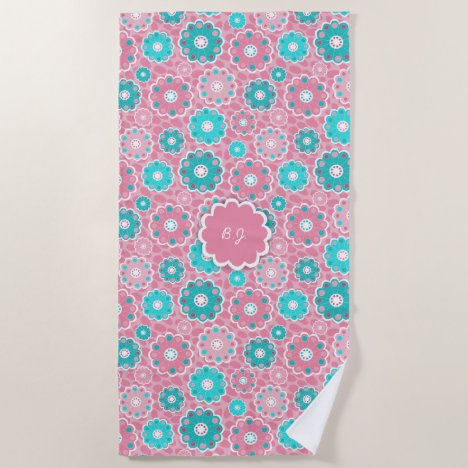 Monogram super trendy pink  & aqua floral beach towel
