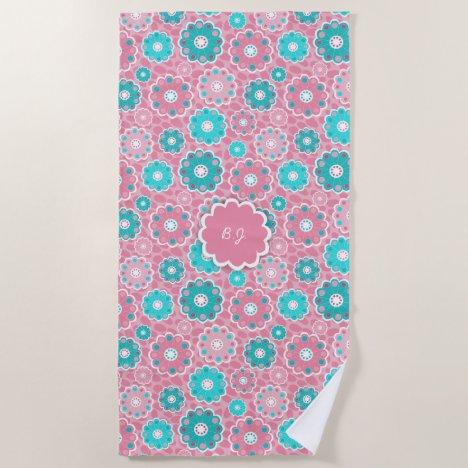 Monogram super trendy pink  & aqua floral beach towel