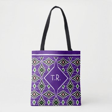 Aztec Themed Monogram surfer girl purple pink green boho tote bag