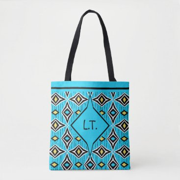 Aztec Themed Monogram surfer girl yellow and blue boho tote bag