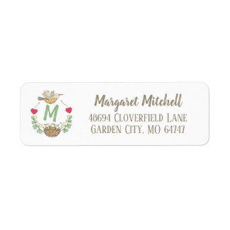 Monogram Sweet Bird Nest and Hearts Address Label