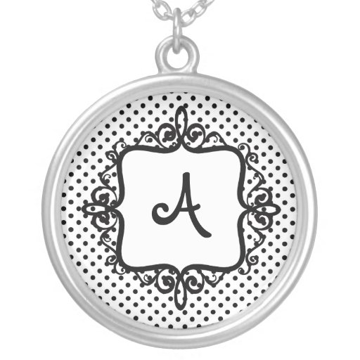 Monogram Swirl with Polkadots Personalized Personalized Necklace